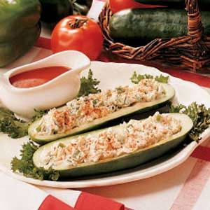 Stuffed Cucumbers Recipe - http://www.tasteofhome.com/Recipes/Stuffed-Cucumbers