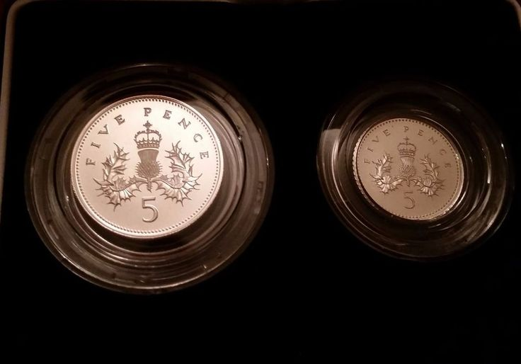1990 GREAT BRITAIN UK SILVER PROOF FIVE PENCE TWO COIN SET PROOF - BOX - COA | eBay