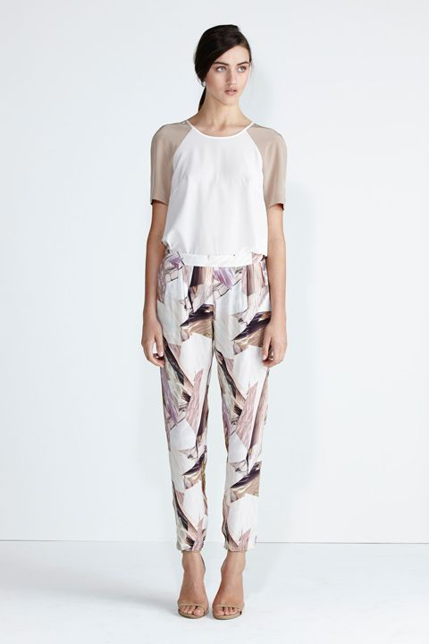 Secret South SS13/14 collection.  Moonstone Top in White/Nude Silk, Wildflower Pant in Glacier Silk. www.secretsouth.com.au