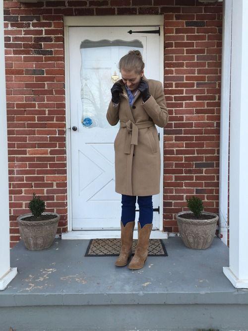 J.Crew coat + cowboy boots