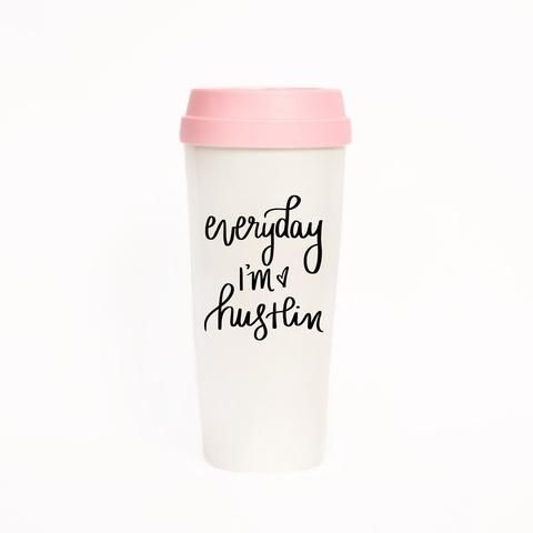 Everyday I'm Hustlin' Travel Mug in Pink and Cream -available at the Get Bullish shop