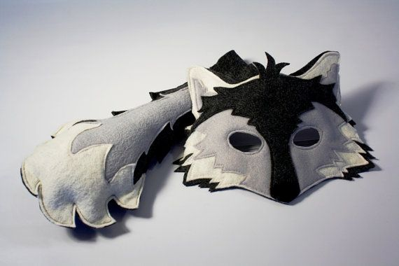 Amadeus the Arctic Wolf Mask and Tail Pretend by HuntingFaeries