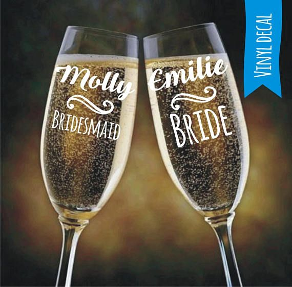 Personalised Name Word  Sticker Vinyl Decal Wine Glass Water  Bottle  Wedding