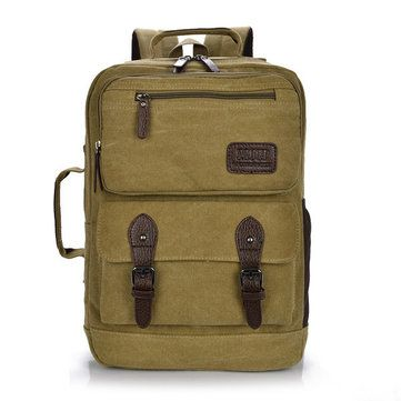 Men Women Multifunction Retro Canvas Backpack Large Capacity Durable Bag - US$30.29