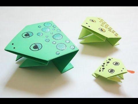 Лягушка из бумаги  Прыгающая лягушка  Поделки оригами. Jumping frog origami