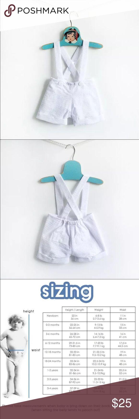 Baby boy seersucker overalls- handmade Great for wedding, baptism, christening *Never worn!* Bottoms Overalls