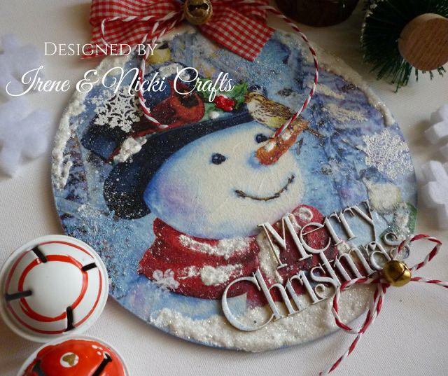.:    Decoupage- Christmas Snowman Wooden Ornament ...