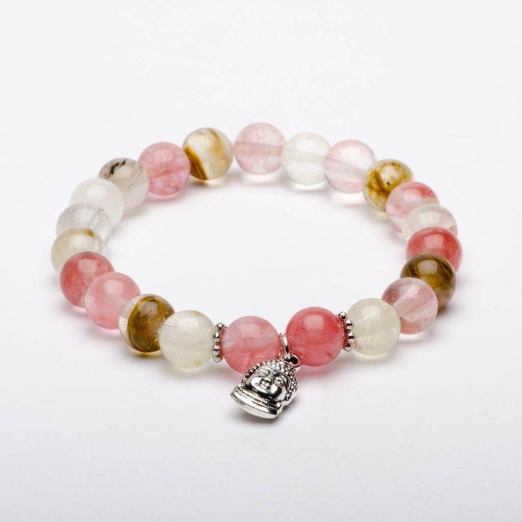 Mala Beads Bracelet Tourmaline Gemstones Watermelon