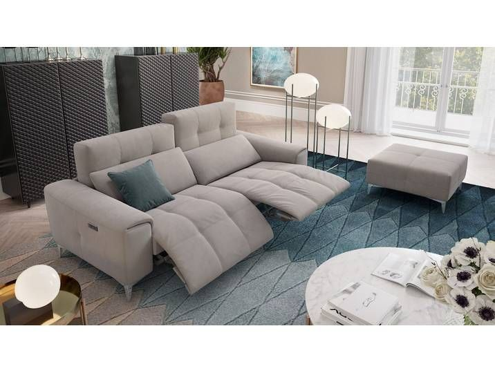 Designer Stoff Sofa Salento 3 Sitzer Relax Couch Relaxcouch Home
