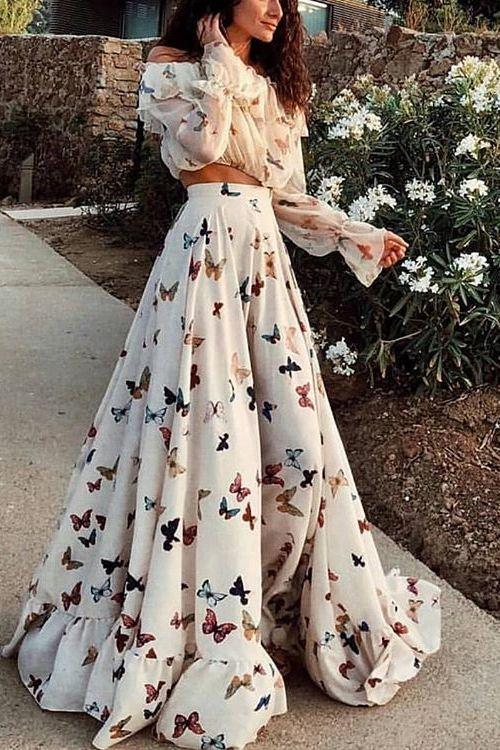 Robe longue imprimée florale sexy avec papillons et épaules dénudées – PINKS…