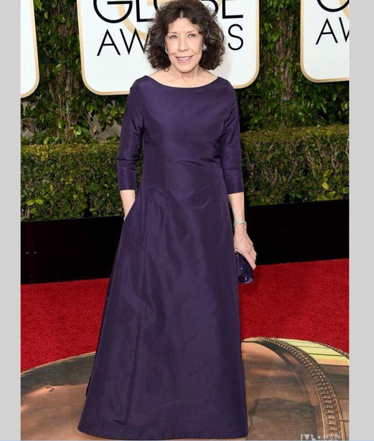 Lily Tomlin Celebrity Dresses Golden Globe Award 2016 Scoop 3/4 Sleeve Red Carpet Women Formal Evening Gowns vestido de festa
