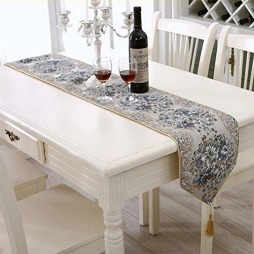 BlueTop Classic Luxury Elegant Embroidery European Style Tassel Dining Manual Table Runners Sequined Lace With Flower Hotel Bed Coffee