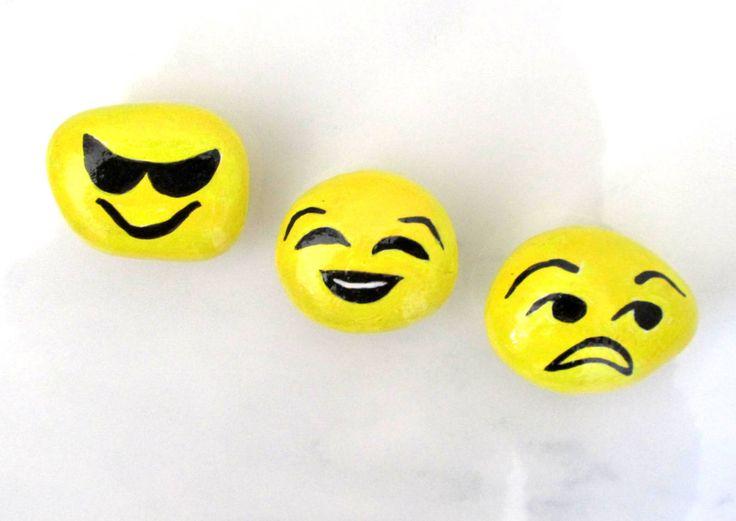 Emogi Emotion Magnets, Hand Painted Rocks, Fridge Magnet, Emogies, Emotion Symbols, Smiley Faces, KitchenAccessory, Office Decor, Fun Gift by JeannesJungle on Etsy