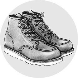 MOC TOE BOOTS  Другой иконический силуэт рабочих ботинок — moc toe (ботинки с уплощенным прошитым носом), пожалуй, даже более практичен, чем предыдущий пункт. Широкий прошитый нос обещает стопе большую свободу внутри ботинка, что в свое время по достоинству оценили американские лесорубы.