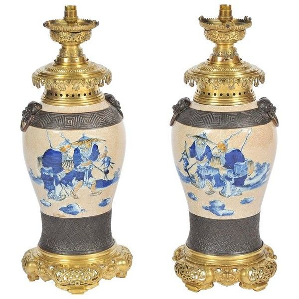 Pair Blue and White Chinese lamps, 19th Century.