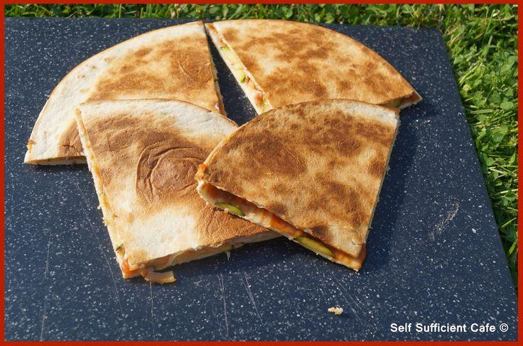 Self Sufficient Cafe: Specials Board: Camp Dinner - Courgette & Onion Quesadilla
