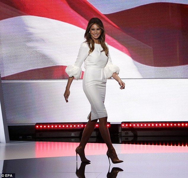 Melania Trump took to the stage to deliver remarks on the first day of the 2016 Republican wearing a white dress by Roksanda. A Star is Born. She was a rock star that evening. Trump for President 2016