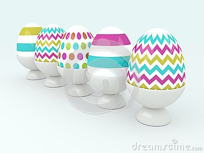 Row of Easter eggs with place for text