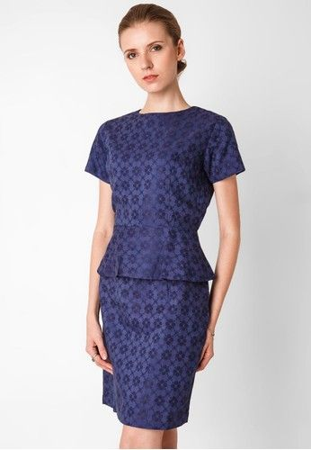 Model Baju Batik Kerja Wanita Modern Biru