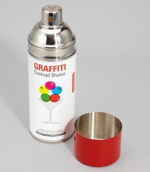 Graffiti Cocktail Shaker  IN STOCK NOW!  	$30: Paintings Cans, Parties People, Sprays Paintings, Martinis Shakers, Graffiti Cocktails, Hostess Gifts, Drinks, Cocktail Shaker, Cocktails Shakers