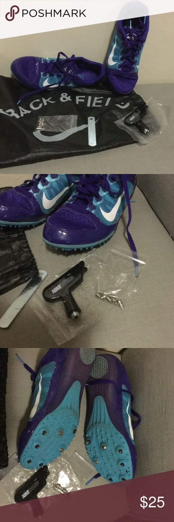 Nike track and field shoes. Use nike track and field tennis shoes. Are in good condition, came whit bag, tools and extra spike sets . Nike Shoes Athletic Shoes