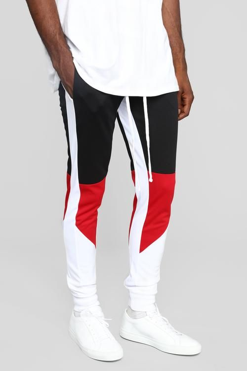 Monty Track Pants Black Red Fashion Suits For Men Streetwear Men Outfits Mens Casual Outfits Summer