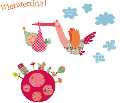 Vinilo decorativo infantil|Cigüeña Mágica