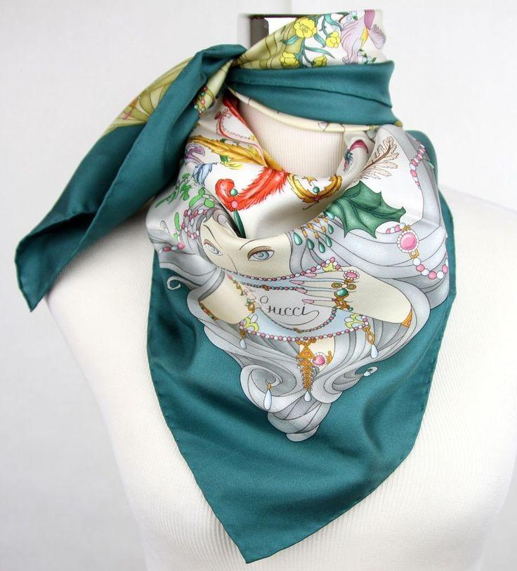 New Gucci Large Teal Silk Floral Scarf w/Four Season Print 341483 4478 #Gucci #Scarf