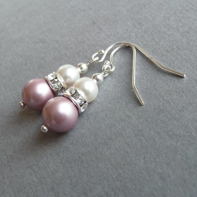 Soft Pink Earrings - Dusky Pink Bridesmaids Jewellery - Rose Pearl Drop Earrings £13.00