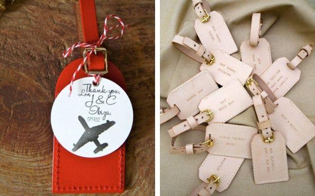Kofferetiketten als Gastgeschenke für eine Hochzeit mit Motto Reisen