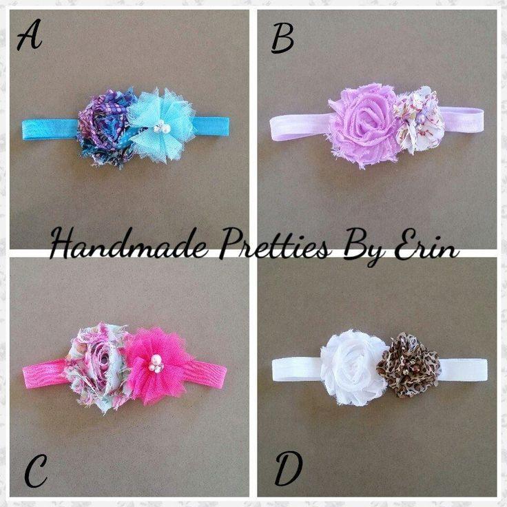 Handmade Pretties By Erin  Beautiful FOE elastic headbands with flowers