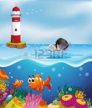 nuotatore: Illustrazione di un ragazzo di nuoto presso la spiaggia vicino al faro Vettoriali