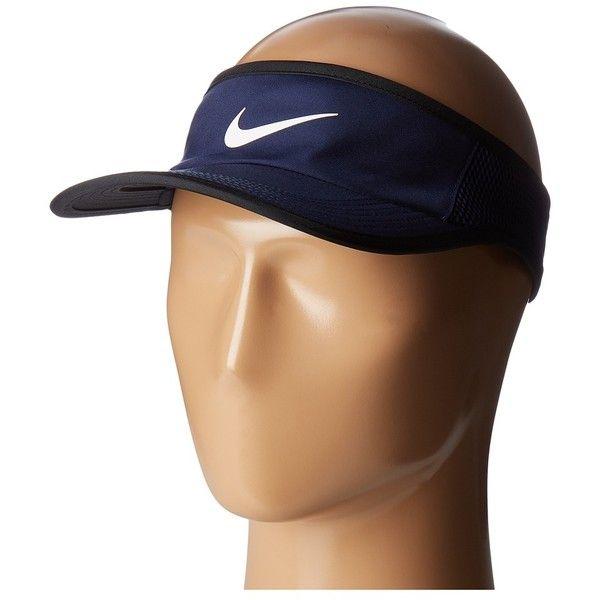 Nike Aerobill Featherlight Visor (Midnight Navy/Black/White) Baseball... ($24) ❤ liked on Polyvore featuring accessories, nike, nike sun visor and sun visor