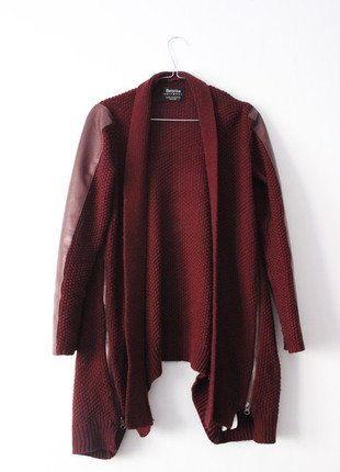 Kup mój przedmiot na #vintedpl http://www.vinted.pl/damska-odziez/kardigany/17743546-bordowy-kardigan-sweter-bershka-elementy-skorzane