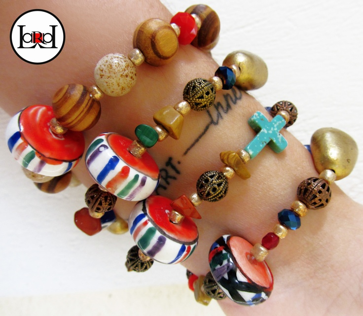 LARA ART Ethnic colorful wheel bracelets