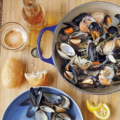 Beer-Steamed Clams and Mussels   CookingLight.com