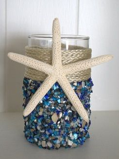 Blue Seashell Coastal Candleholder - Small Beach Decor | Nautical Decor | Tropical Decor | Coastal Decor