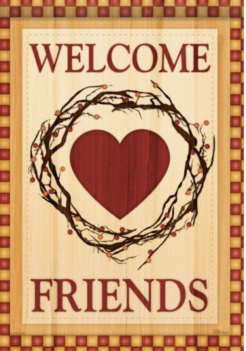 Marvelous Primitive County Heart Valentine Welcome Friends Double Sided Garden Flag  13x18