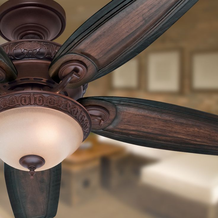 Shop Hunter Claymore 54-in Brushed Cocoa Downrod or Flush Mount Ceiling Fan with Light Kit at Lowes.com