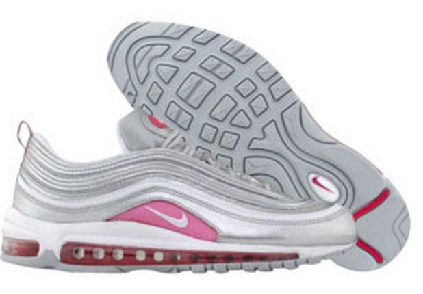 Ny Nike Air Max 97 for Herre Sko-Sølv Hvit Rosa Online Metallic Levende  GRATIS FRAKT VED DHL 656.26kr