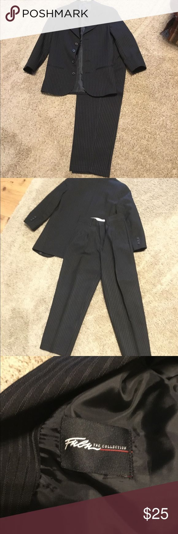 "Boys black pinstripe size 8 slim ""Fubu"" Suit Pants have a 20"" inseam. Excellent like new condition. Fubu Matching Sets"