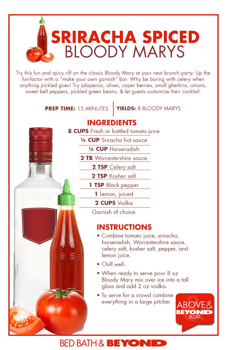 Sriracha Spiced Bloody Mary...not sure how it competes w/zing zang, but will have to try!