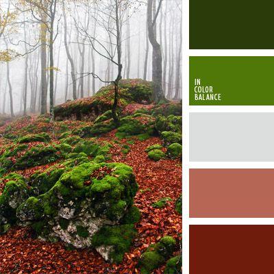burdeos, color azul niebla, color musgo, color sangría, colores del bosque nublado, gris niebla, matices del marrón rojizo, rojo, rojo burdeos, tonos verdes, verde claro, verde fuerte, verde oscuro, verde y burdeos, verde y rojo.