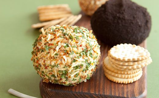 "Onion & #Bacon Cheese Ball. Great for entertaining, and vegetarian friendly with soy ""bacon""! This is the best cheeseball around."