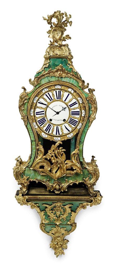 A LOUIS XV ORMOLU-MOUNTED CORNE VERTE STRIKING BRACKET CLOCK BAILLY L'AINE, PARIS, THIRD QUARTER 18TH CENTURY