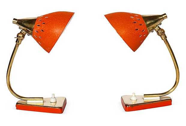 I love a bright orange pair of midcentury table lamps.