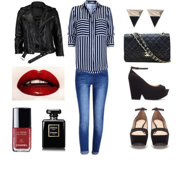 """""""DENIM+BLACK AND WHITE"""" by susisaval on Polyvore"""