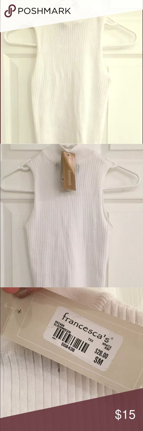 Small Francesca's white crop top! NWT Small Francesca's white ribbed crop top. NWT. Perfect with high waisted jean shorts and a fanny pack! Francesca's Collections Tops Crop Tops