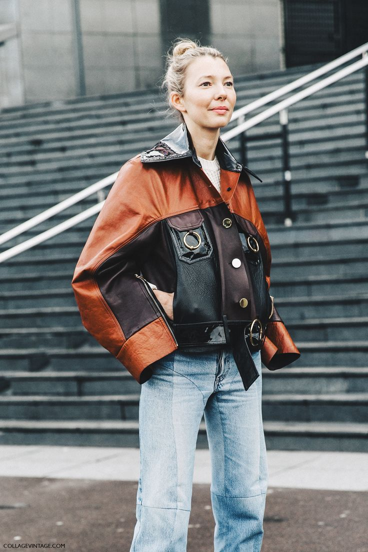 TOMAS TAIT leather jacket   PFW-Paris_Fashion_Week_Fall_2016-Street_Style-Collage_Vintage-Vetements_Jeans-Celine_Boots-Leather_Jacket-6