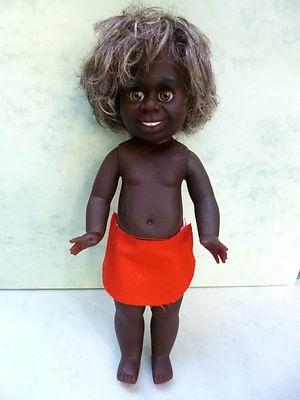 Rare Black Aboriginal Bindi doll 1970s Australian vintage original clothes Netta